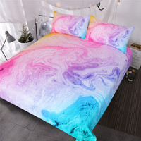 BlessLiving Colorful Marble Bedding Set Pastel Pink Blue Purple Quicksand Duvet Cover Abstract Art Bed Set Bright Girl Bedspread