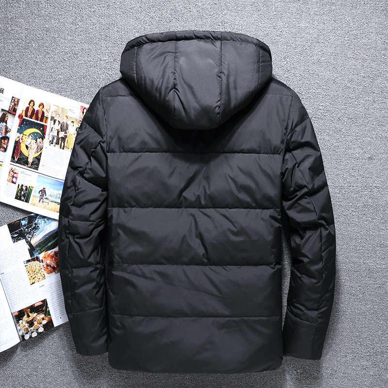 2018 nuevo hombre masculino blanco pato abajo chaqueta hombres con capucha abajo abrigo masculino inverno hombres invierno grueso ropa rojo azul negro