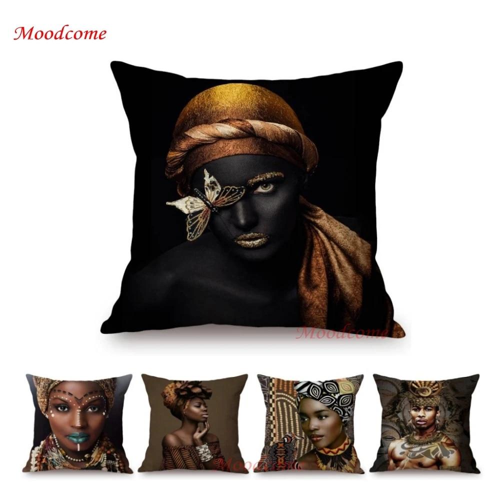 Black Elegant Sofa Throw Pillow Cover African Queen Princess King Beautiful Home Decoration Art Cotton Linen Chair Cushion Cover Cushion Cover Aliexpress