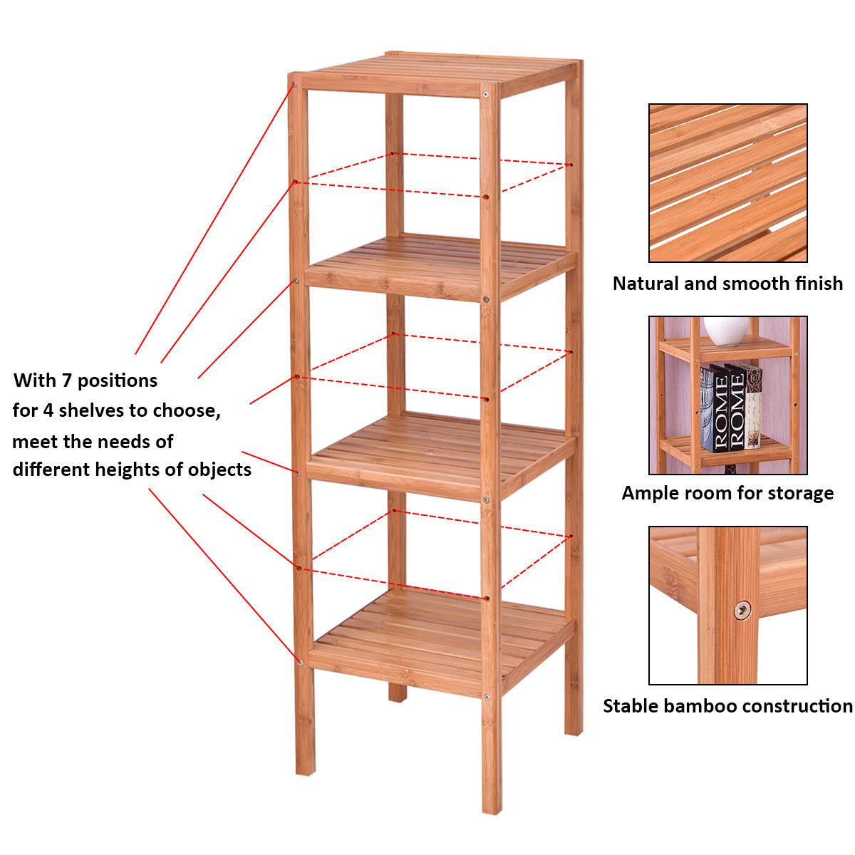 Goplus 4 Tier Bamboo Storage Shelving Unit Bathroom Towel Rack Shelf ...