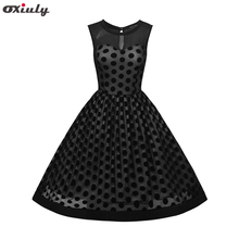 Oxiuly Women Casual Dress Dot Vintage Dress with Sleeveless Open Back Zipper Ball Gown Party Dress Stretch Mesh Plus Size 3XL