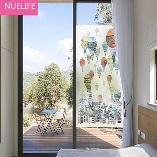 60x90cm Hot air balloon pattern frosted glass film bedroom bathroom opaque living room balcony sliding door & 60x90cm Hot air balloon pattern frosted glass film bedroom ...