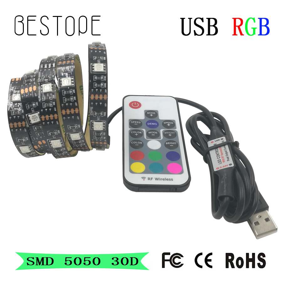 USB LED Strip 5050 RGB led light 30D/M LED tape light TV Background Lighting Kit Cuttable with 17Key RF Controller,1M/2M Set