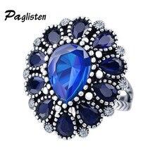 جديد أزياء خاتم الخطوبة الأزرق/الأرجواني حجر البطانة كريستال عصابة المجوهرات