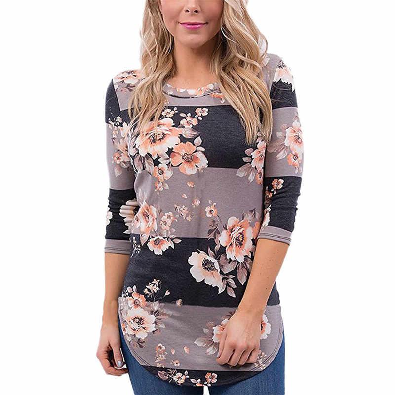 98469b82e77 Женская блузка 2019 модная летняя повседневная Цветочная Печать Блузки  Рубашки с длинным рукавом Рубашка Туника Топы