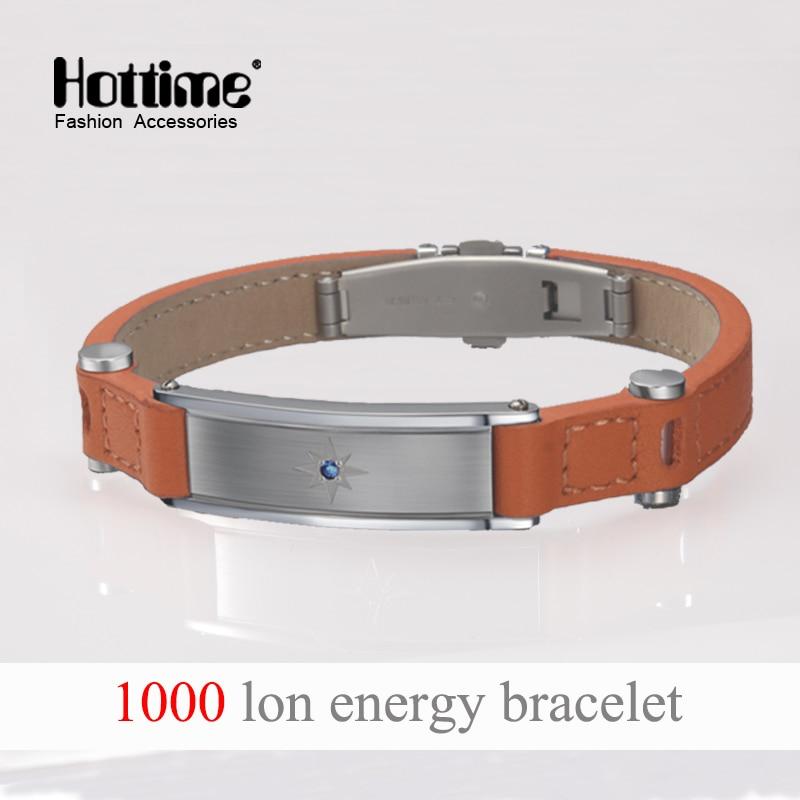 Hottime Puissance 4 en 1 Bo Elements Énergie Bracelet Équilibre Ion Magnetic Therapy Mode Italien Véritable En Cuir Bracelets Cristal