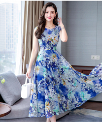 Spring Chiffon Fashion Printed Women Beach Dress 2019 New Summer Round Collar Female Work Wear Slim Elegant Temperament Dresses 4