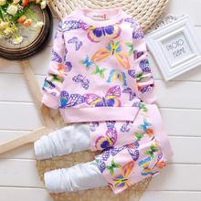 Высокое качество 2016 весна осень девочка комплект одежды хлопка печати с длинным рукавом + брюки 2 шт. baby set детские Наборы