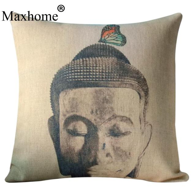 Classic Cotton Linen Pillowcase Buddha Head And Butterfly Sofa Fascinating Buddha Decorative Pillows