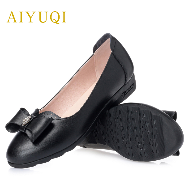 AIYUQI 2018 spring new genuine leather women shoes comfortable soft flats women's shoes plus size 41#42#43# shoes women aiyuqi plus size 41 42 43 women s flat shoes 2018 spring new genuine leather women shoes soft surface mom shoes women