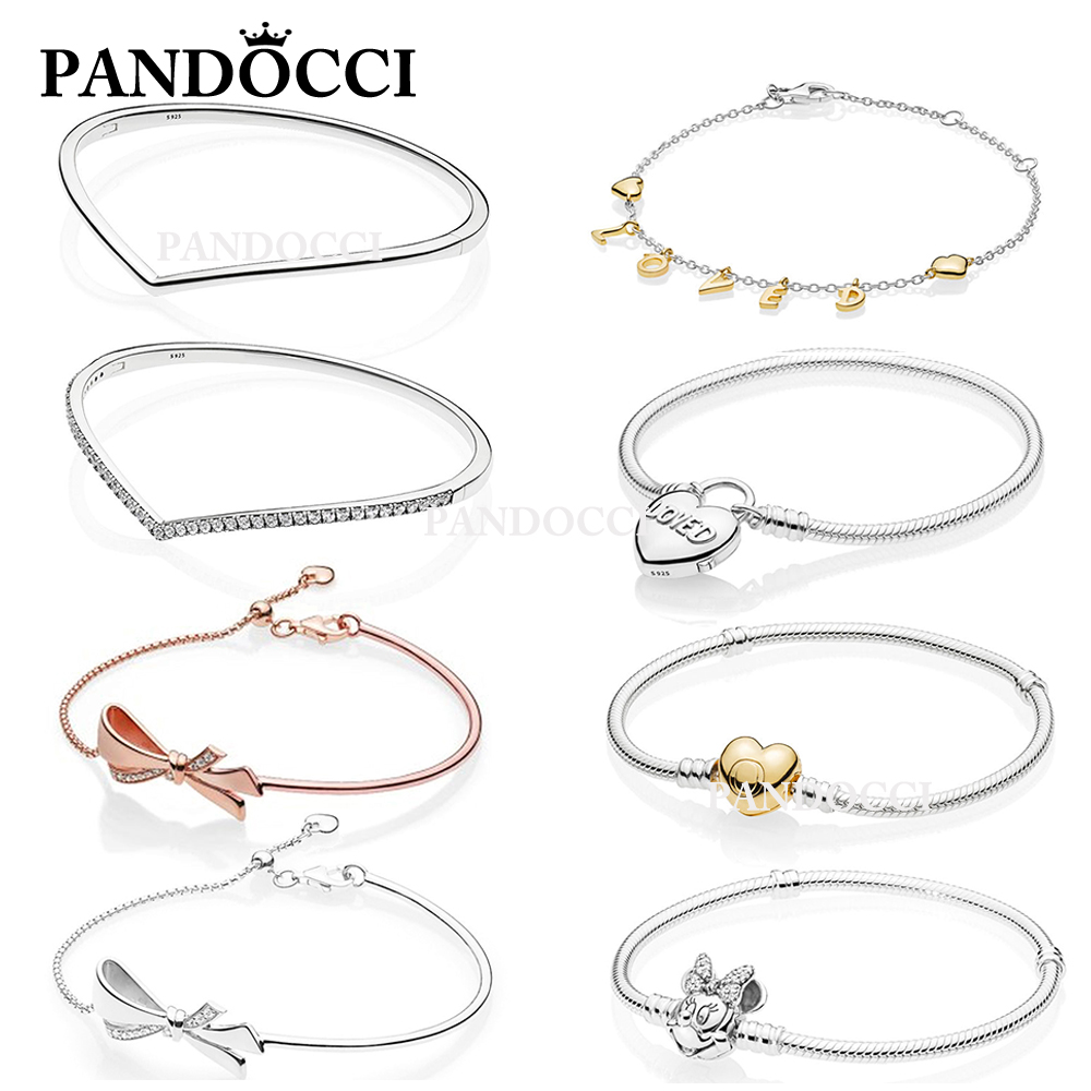 PANDOCCI 100% 925 Sterling Silver 1:1 Shining Wish Bangle Shine Loved Script BRILLIANT BOW MOMENTS with Heart Clasp BraceletPANDOCCI 100% 925 Sterling Silver 1:1 Shining Wish Bangle Shine Loved Script BRILLIANT BOW MOMENTS with Heart Clasp Bracelet