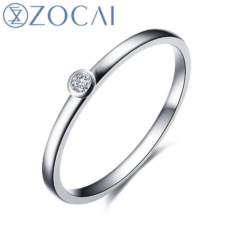 ZOCAI кольцо из белого золота 18 К (Au750) Настоящее 0,03 T H/SI Бриллиант круглой огранки обручальное кольцо W06397