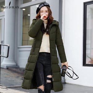 Image 3 - PinkyIsBlack kış ceket kadınlar kapşonlu uzun parkas kış ceket kadın ceket giyim kalınlaşmak aşağı pamuk kapitone ceket