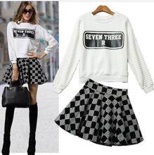 Fashion Women White Hoodies & Sweatshirts Top Skirt 2 Piece Clothing Set sudaderas mujer roupas femininas Plaid Skirts Suit