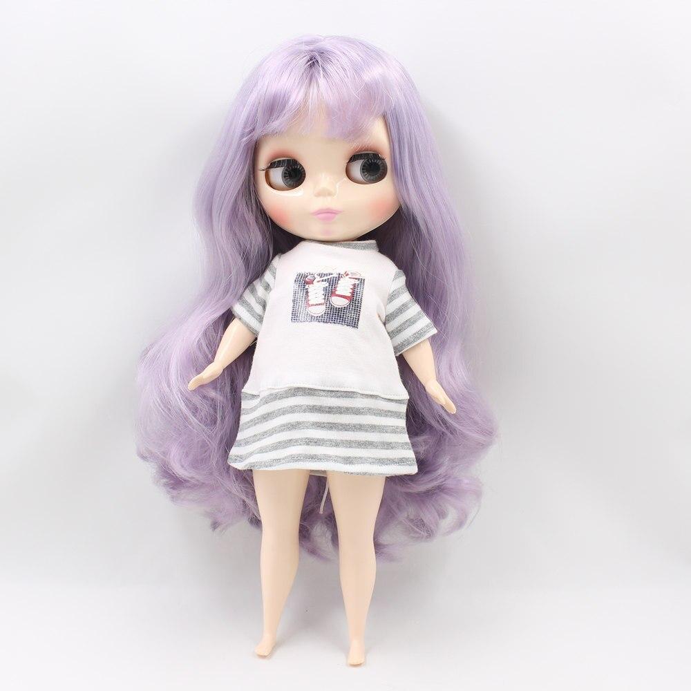 Blyth poupée pour corps dodu usine graisse violet clair avec bandgs bjd jouets BL1049 neo adapté pour cosmétique bricolage refit offre spéciale-in Poupées from Jeux et loisirs    2