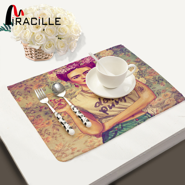 miracille 2 4 6pieces set placemats frida kahlo printed home