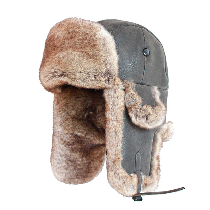 50653083f4e9db ... Bomber Hats Faux Rabbit Fur Russian Ushanka Vintage PU Leather Earflap  Aviator Trapper Men Women Winter ...