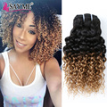 10inch Ombre Peruvian Virgin Hair Kinky Curly 8a Unprocessed Deep Curly Hair 300g Two Tone Peruvian Human Hair Bundles Weave 3pc