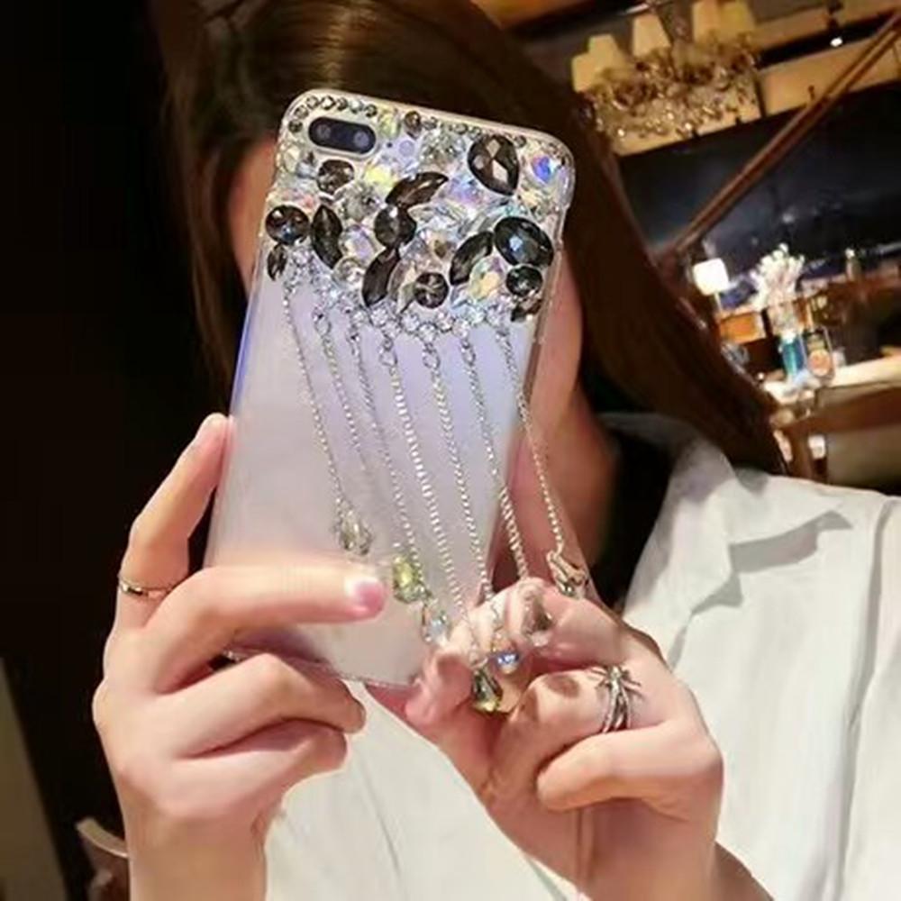 Luxury Glitter Pendant Phone Cases For LG K10 (2018) Back Cover Bling Rhinestone Case For LG K10 (2018) - intl