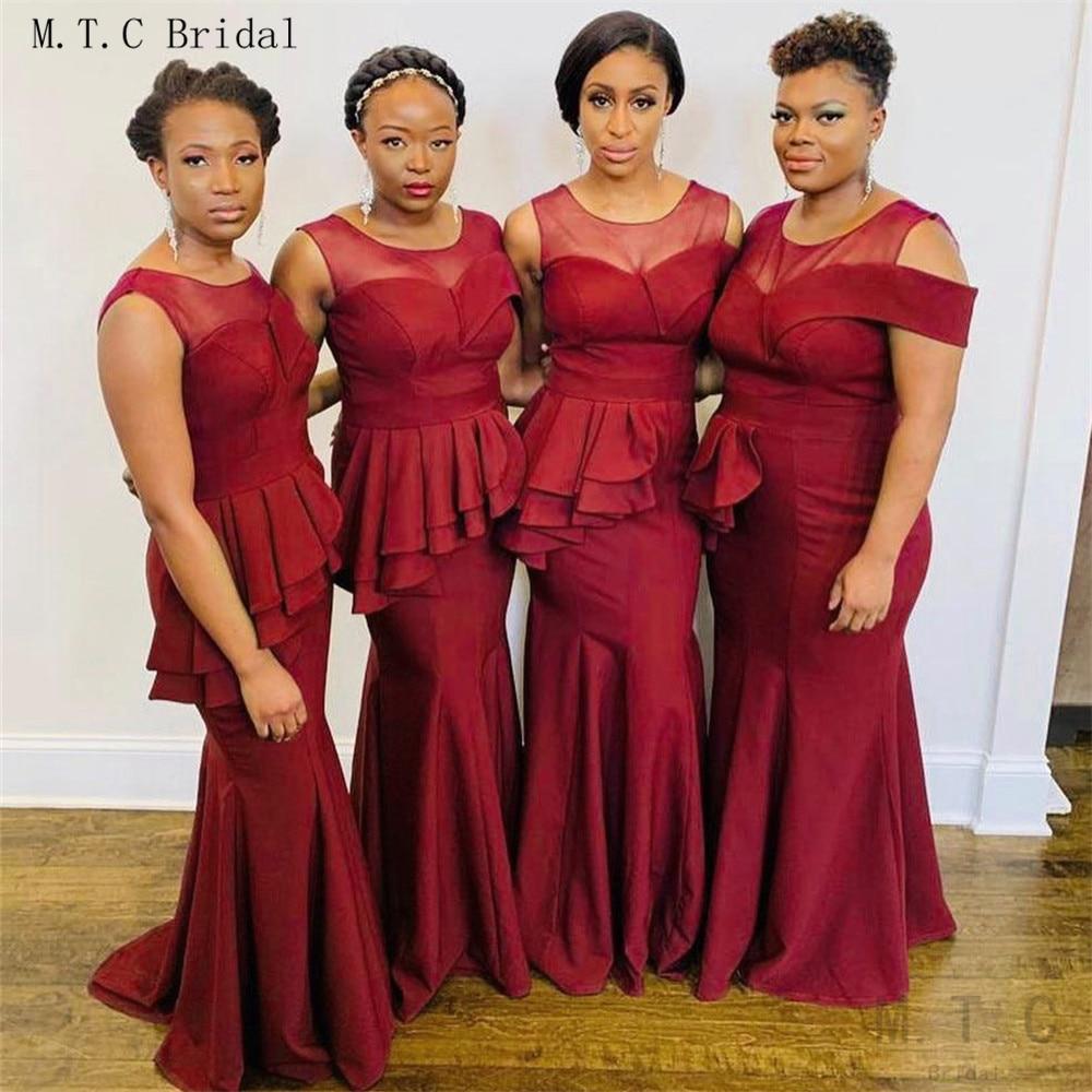 Hot Selling African Burgundy Mermaid   Bridesmaid     Dresses   Floor Length Sleeveless High Quality Elastic Long Maid Of Honor   Dress