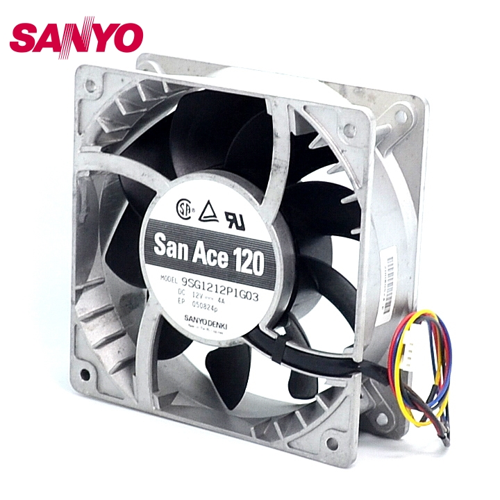 SANYO New 12CM fan violence heat fan 12038 12V 4A 9SG1212P1G03 120*120*38mm free delivery 4e 115b fan 12038 iron leaf high temperature cooling fan 12cm