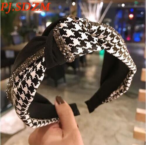 PJ.SDZM 2Pcs/Lot New Arrival Korean Women Retro Diamond Hairbands Soft Leather Stitching Knot Headwears