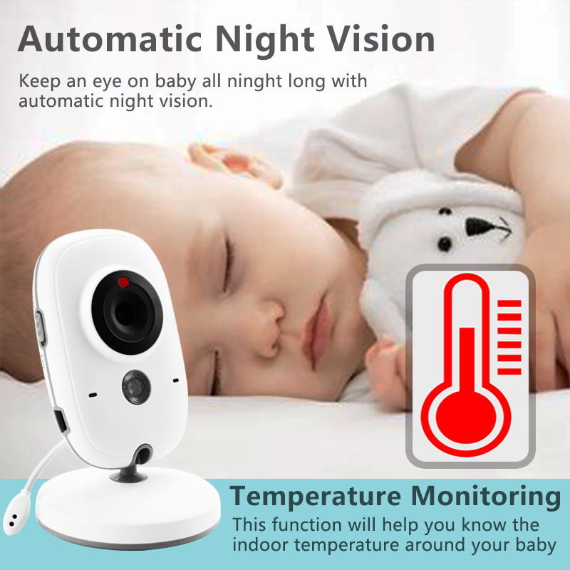Image 2 - Wireless Video Color Baby Monitor 3.2 inch High Resolution Baby Nanny Security Camera Night Vision Temperature Sleeping Monitor-in Baby Monitors from Security & Protection