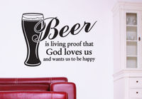 Wall Vinyl Sticker Bedroom Decal Words Sign Quote Beer God Love Us