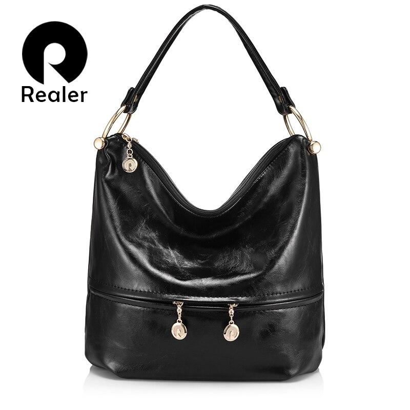 REALER luxury handbags women designer high quality female shoulder bag PU leather ladies large totes hobo