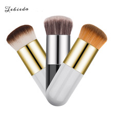 Tebieda 1Pcs Small Fat Foundation Brush Makeup Beauty Tools Round Head Silver BB Cream Dropshipping