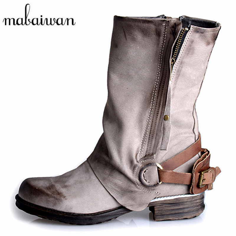 Mabaiwan Gray Women Ankle Boots Genuine Leather Side Zipper Flat Booties Autumn Winter Botas Militares Martin Boot Botines Mujer 2017 brown genuine leather winter autumn women boots high heels flat shoes women booties militares mid calf martin boots pumps