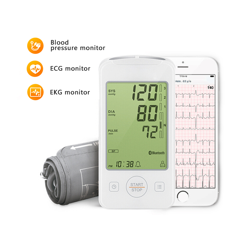Home Health Care Digital Lcd Arm Blood Pressure Monitor with ECG monitor Machine for Measuring Automatic EKG tracing APP recordHome Health Care Digital Lcd Arm Blood Pressure Monitor with ECG monitor Machine for Measuring Automatic EKG tracing APP record