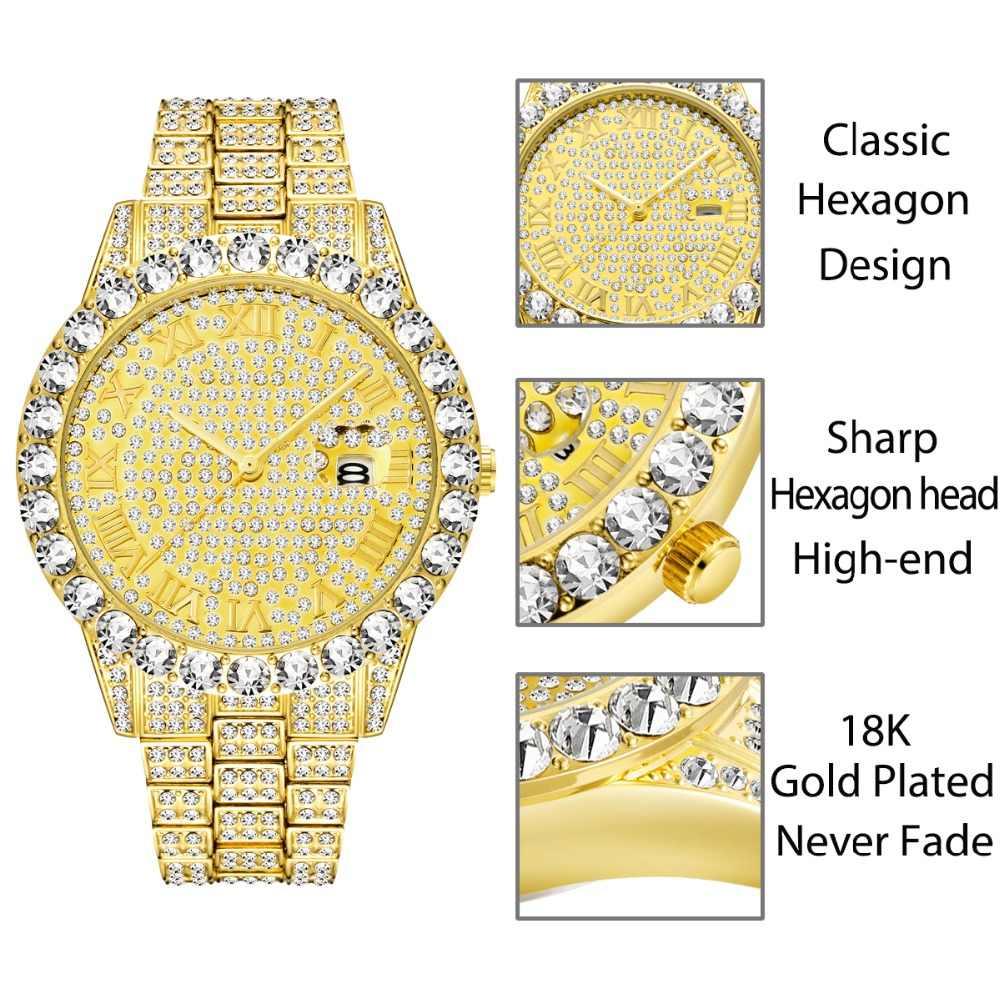 TOPGRILLZ 男性腕時計ゴールドメンズ腕時計トップブランドの高級ダイヤモンドブレスレットステンレス鋼クォーツ腕時計ビジネス時計