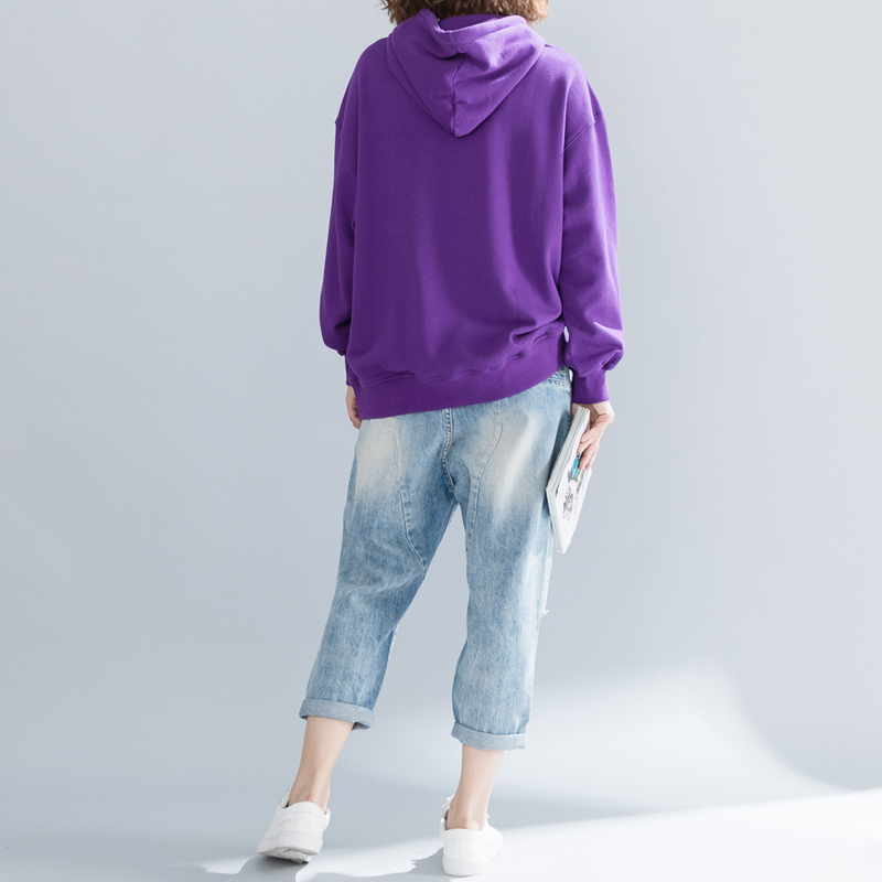 QoerliN Fashion Sweatshirts Purple Letter Embroidery Loose Casual Tops Oversize Hoodies Ladies Harajuku Pullover Spring Warm Top