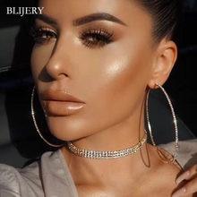 BLIJERY Mode Strass Großen Kreis Ohrringe Große Creolen Silber Farbe Kristall Runde Hoop Ohrringe Für Frauen Schmuck