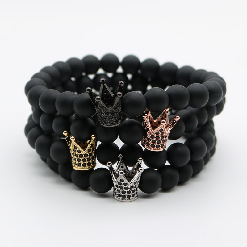 Micro Pave Black CZ Zirconia Gold-Color King Crown Charm Bracelet Men Dull Polish Matte Stone Bead Bracelets For Men Women NF-1