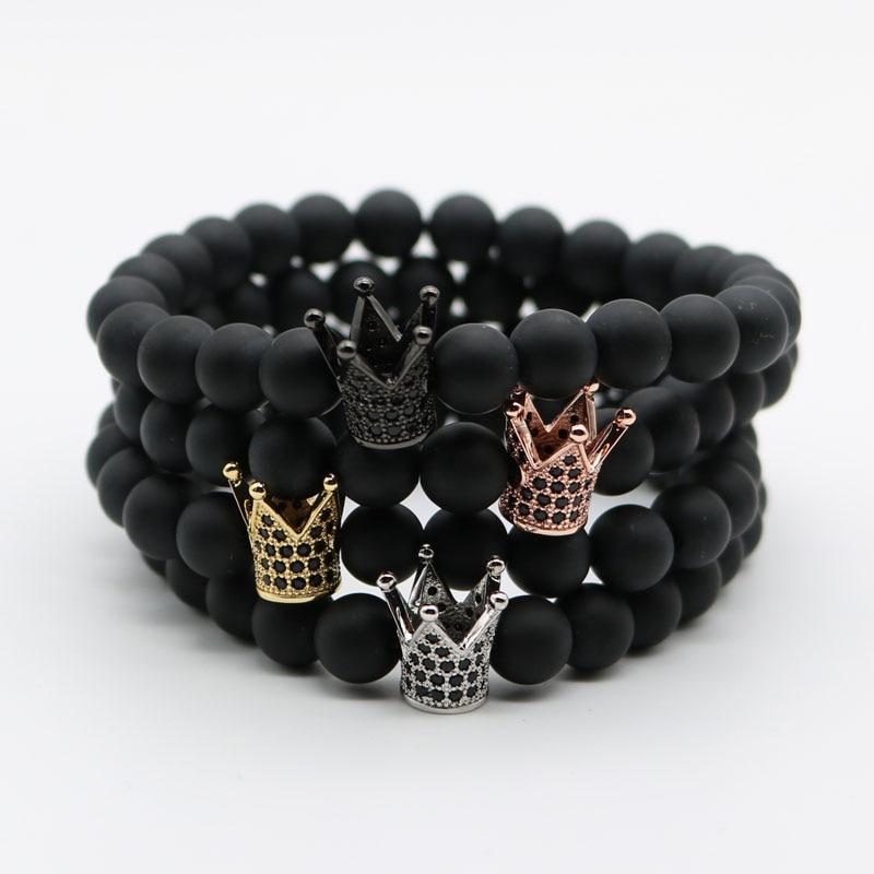 Micro Pave Black CZ Zirconia Gold-Color King Crown Charm Bracelet Men Dull Polish Matte Stone Bead Bracelets For Men Women NF-1