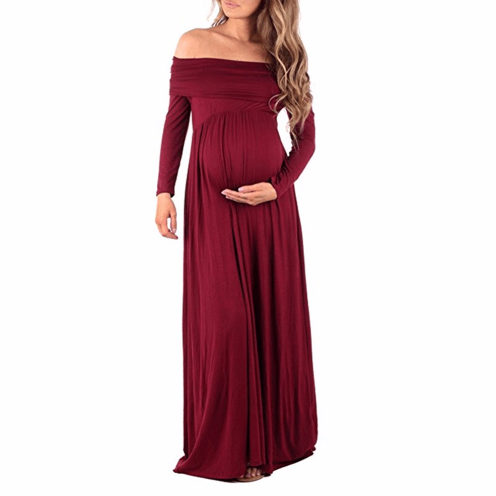 Maternity Dress For Photo Shooting Boat Neck Dress Maternity Photography Props long Sleeve Stretch Pregnant Dress casual skew neck long sleeve mini tight dress