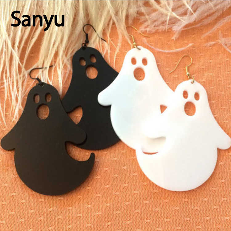 Fashion Ghost White Black Drop Earrings Simple New Design Trendy Funny Cool Dangle Earrings Halloween Punk Cool Drop Earrings
