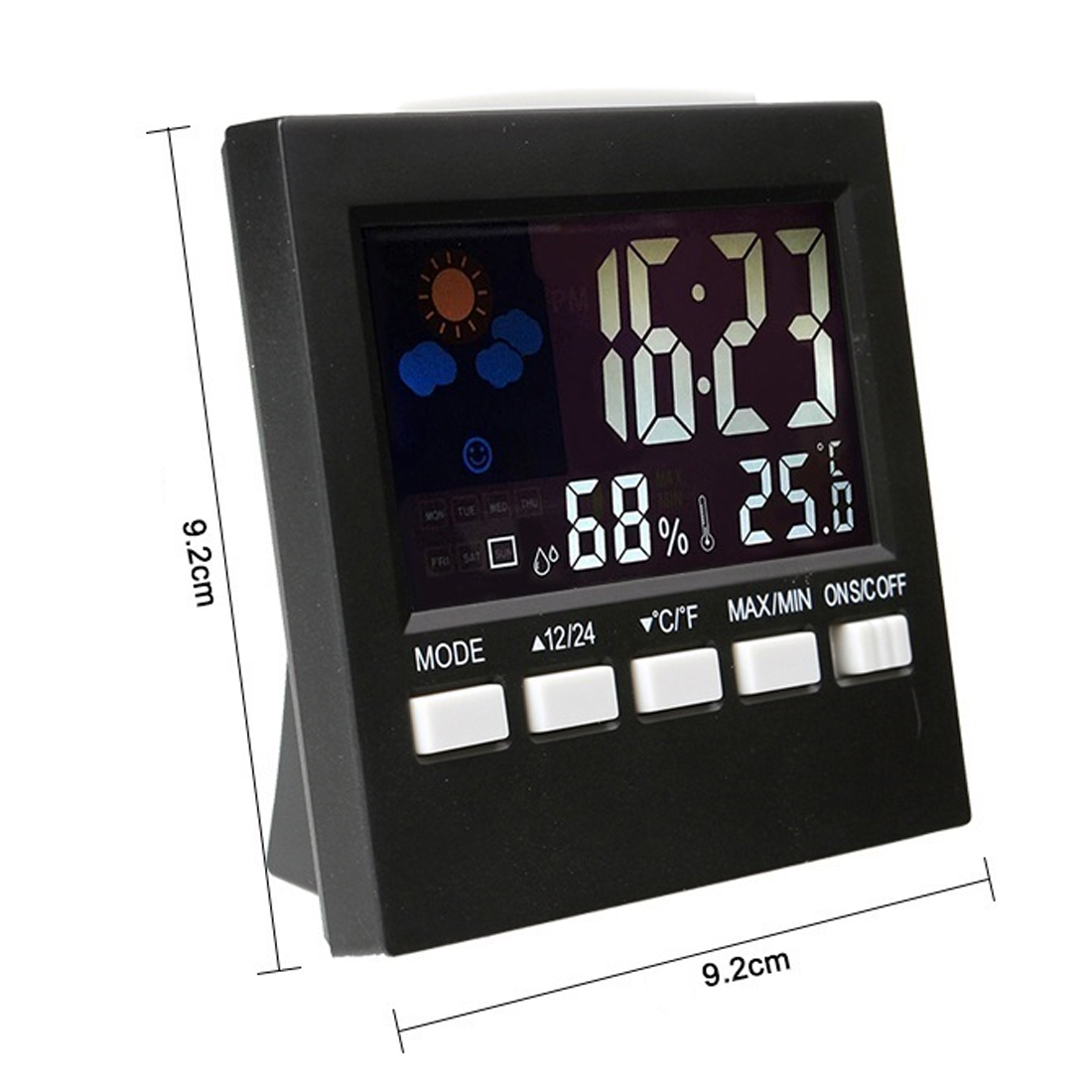 Colorful LCD Termometer Clock Alarm Snooze Function Calendar Weather Forecast Display Digital Thermometer Hygrometer