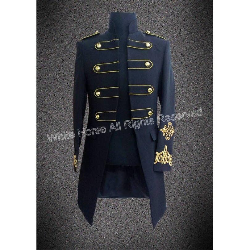Military Uniform Victorian Noble Wool Suit Jacket Custom-made Midnight blue