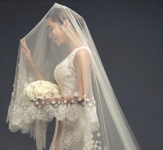 Фирменная Новинка Роскошная свадебная фата с длинным шлейфом для девочек; 3 м белый/цвет слоновой кости, свадебные аксессуары, свадебное платье Элегантные Свадебные вуали