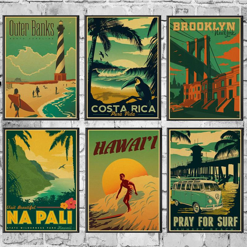 Landscape San Francisco Hawaii Poster Wall Stickers Vintage Poster Prints High Quality For Bar And Home Decor
