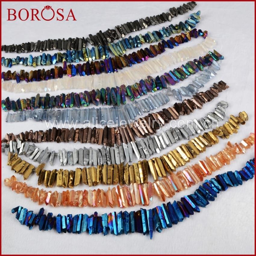BOROSA 5Strands Rainbow Cluster Aura Titanium Quartz Crystal Point Pendant Beads Angel Crystal Titanium Quartz Jewelry
