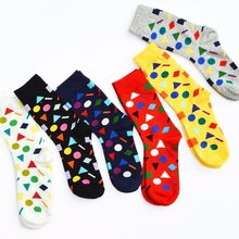 PEONFLY Geometry Color Personality Male Full Cotton happy funny mens socks lot dress 6 pairs/lot(China)