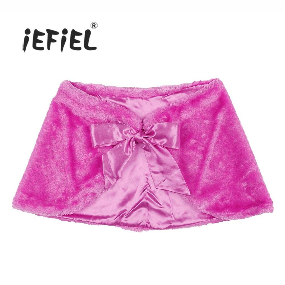 iEFiEL Women Lady Faux Fur Wrap Shawl Stole Shrug Bolero Shoulder Cape with Satin Ties Winter Fashion for Formal Birthday Party ...