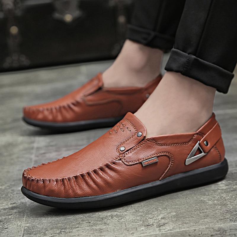 En Slip on Noir Respirant red jaune Doux Mocassins Casual Chaussures Paresseux Semelle Cuir Homme Softt Loisirs Plat Hommes Brown Aa60830 5p0q8