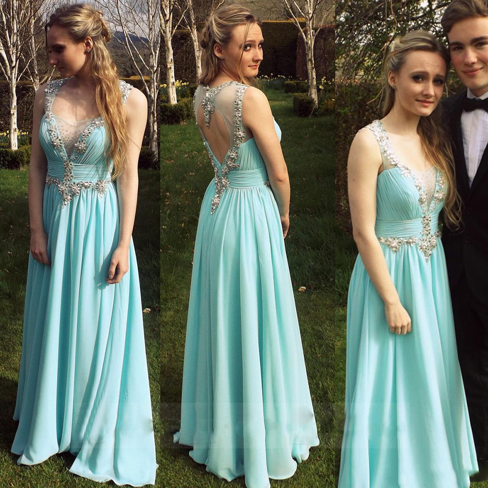 2016 Elegant Blue Aqua Chiffon Long Prom Dresses Engagement Party ...