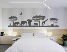 Wild Animals Landscape Vinyl Wall Decal Safari Bedroom Decor African Africa Nature Sunset 3115