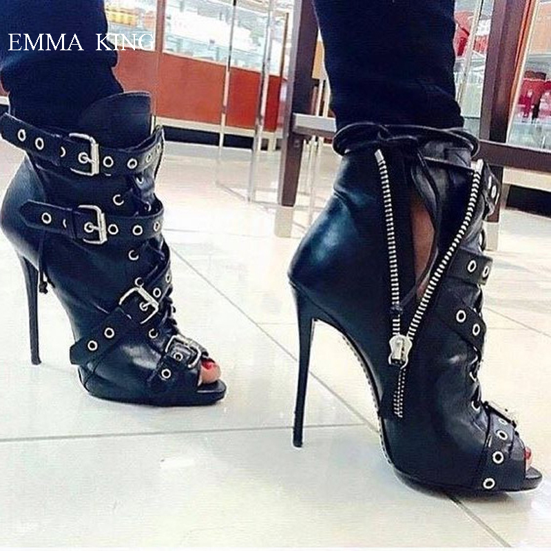 Sexy Big Buckle Cross Strapped Black Stiletto Ankle Boots for Women Fashion Open Toe High Heels Short Boots Designer Shoes WomanSexy Big Buckle Cross Strapped Black Stiletto Ankle Boots for Women Fashion Open Toe High Heels Short Boots Designer Shoes Woman